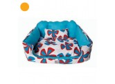 Doggie Goodie Kingston Sofa - Aqua and Red Floral Print