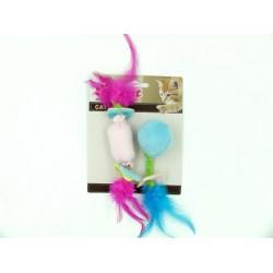Billicat 粉紅糖果/藍色波波 羽毛尾小玩具