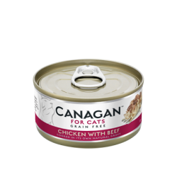 Canagan 無穀物雞肉牛肉貓罐頭75g (深桃紅)