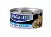 Nunavuto 肉絲貓罐頭 - 吞拿魚片+白飯魚 80g (藍)