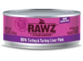 RAWZ 無穀物 - 96% 火雞肉+火雞肝 貓用主食罐 (肉醬) 156g
