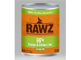 RAWZ 無穀物96% 雞肉+雞肝 主食狗罐頭 354g
