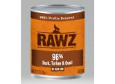 RAWZ 無穀物96% 鴨+火雞+鵪鶉 主食狗罐頭 354g