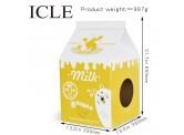 牛奶盒型 (黃色) 瓦通紙貓抓板